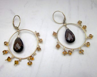 Estate Large Smokey Quartz and Citrine 14k Solid Yellow Gold Chandelier Pierced Earrings
