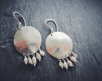 Full Moon Dangle Earrings with Freshwater Pearls -- One of a kind, ready to ship!