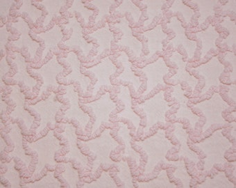 40 x 20 Inches - Pristine Delicate Petal Pink Cabin Crafts Squiggle Vintage Chenille Bedspread Fabric Piece