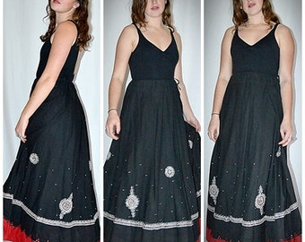 Vintage Long Flared Black and Red Cotton Embroidered and Jeweled Indian Skirt Petticoat Waist to 38 Inches