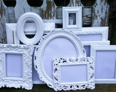 RESERVED RTANDON Set of 13 Shabby Chic Bright White Ornate Picture Frames for Gallery Wall, Wedding Decor, Nursery Decor