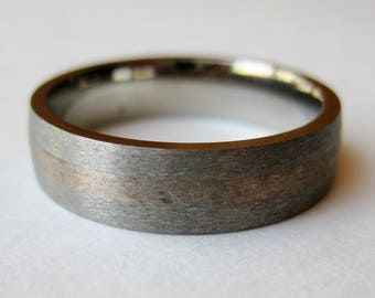 Vintage Ring Titanium Mens Brushed Silver Band Ring size 11