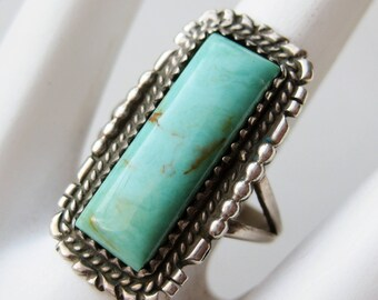 Vintage Native American Navajo Indian Sterling Silver Turquoise Ring size 7 1/4