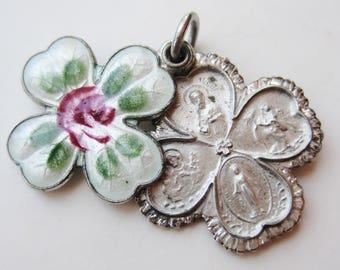 Vintage 40s Sterling Silver Enamel Virgin Mary Devotional Catholic Cross Necklace Slide Pendant