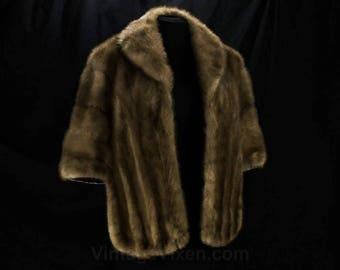 Mink Fur Stole - Medium 1950s 60s Genuine Fur Cape - Posh Mid Century Glamour - Amber Brown Similar to Autumn Haze - Nelson Furs - 48642