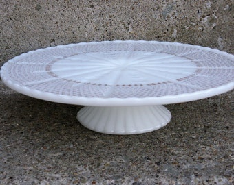milkglass cake stand Anchor Hocking gold accents vintage wedding 50th anniversary shabby cottage