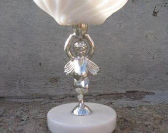 cherub compote marble base milkglass silver hollywood regency shabby