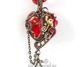 OOAK Red steampunk wire wrapped heart pendant with a key