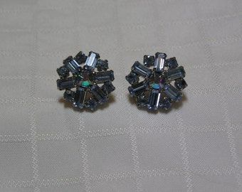 Weiss blue baguette and round prong set flower screw back wedding earrings