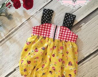 Baby Girl Bubble Romper Sunsuit Vintage Retro Ladybugs Collection Toddler Infant Girls