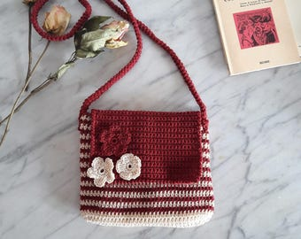 Crochet small bag, crossbody cotton bag, shoulder purse, summer bag
