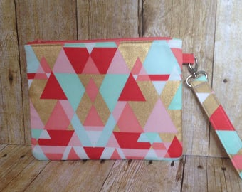 Large Zipper Pouch - Coral, Mint, and Gold Geometric Fabric - Zippered Clutch - Large Wristlet - Large Pencil Pouch