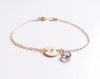 Gold Personalized Bracelet | Personalized Bridesmaid Gold Initial Bracelet | Birthstone Bracelet | Gold Initial Bracelet | Gift for her
