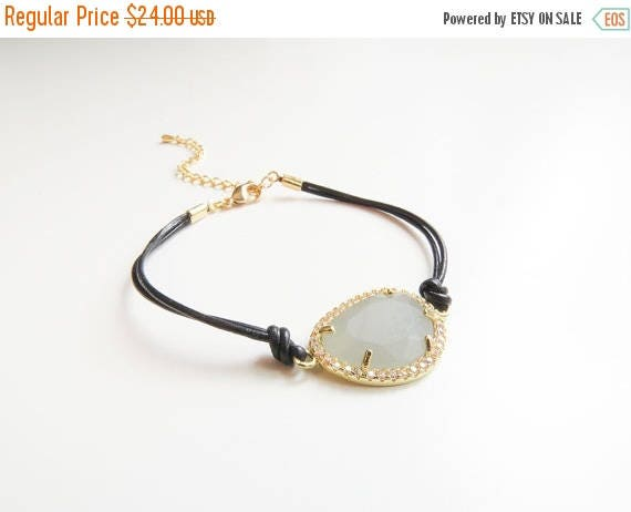 SALE 60% OFF Gemstone Bracelet | Layering Bracelet | Delicate Gold Bracelet | Leather Bracelet | Leather Jewelry | Gifts for her