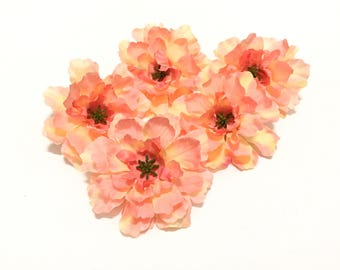 5 CORAL Budget Quality Dahlia Mums - Artificial Flowers As IS, No Returns, Silk Flowers, Hair Accessories, Flower Crown, Millinery, Hat