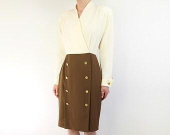 VINTAGE Two Tone Dress 1980s Wrap Cream Brown Gold