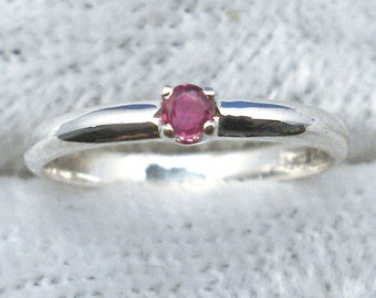 Ruby Baby Keepsake Ring, July Birthstone, Hand Crafted Recycled Sterling Silver, handmade for boy, girl, natural stone