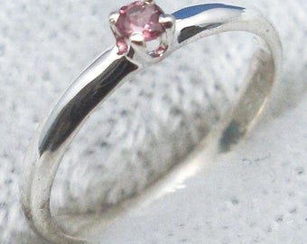Pink Tourmaline Baby Keepsake Ring, October Birthstone, Hand Crafted Recycled Sterling Silver, handmade for boy, girl, natural stone