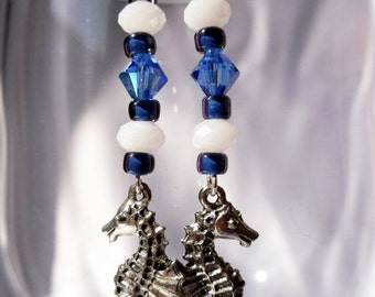 Blue and White Beaded Earrings with Seahorses