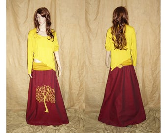 Yellow assymetric, pointy, earthy, faery, fairy top woodland, size XL