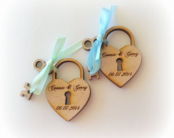 70 Heart and skeleton Key Wedding Favors custom personalized