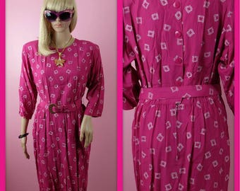 Vintage 1980s Hot Pink and White Secretary Dress with Matching Belt