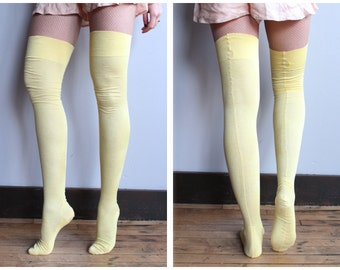 1920s Back Seam Stockings // Yellow Cotton Thigh High Stockings // vintage 20s back seam hosiery