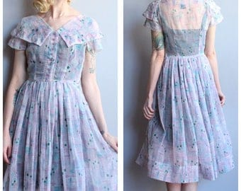 1950s Dress // Doris Dodson Sheer Dress // vintage 50s dress