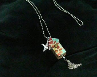 OOAK Birdhouse Necklace, Handmade, Multi-color, from Bluebird Creations, Item #2012