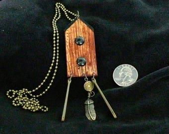 OOAK Birdhouse Necklace, Handmade, from Bluebird Creations, Item #2016