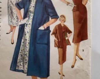 50s Simplicity 1458 Sheath Dress Kimono Sleeves Coat Knee Length Mad Men Size 12 Bust 30