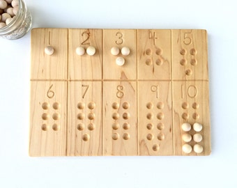 Wooden Number Counting Tracing Board Waldorf Montessori School Toy