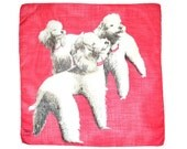 VINTAGE DOG HANKIE Standard Poodles on Melon Red White Poodles Matching Red Collars Smiling Dogs White Hand Rolled Hem Excellent Condition