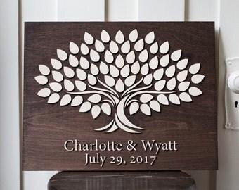 Wedding Guestbook | Alternative Guestbook Signing 14x18  Tree | Alternative Wedding Guestbook | 3d Wood Tree  signing Guestbook |