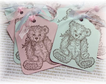 Baby Tags -  Boy or Girl - Teddy Bear- Shower Gift Tags (8) - BLUE OR PINK
