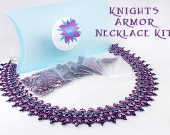 Knights Armor Necklace Bead Kit in Bordeaux Purple Blue, Arcos Par Puca, DiamonDuo Bead, Swarovski Crystal, Beadweaving Collar Kit, Bead Kit