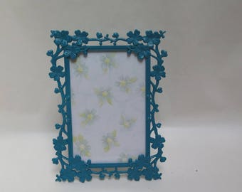 Dark Teal 5 x 7 Dogwood Branch Picture Frame Painted Blue Lagoon