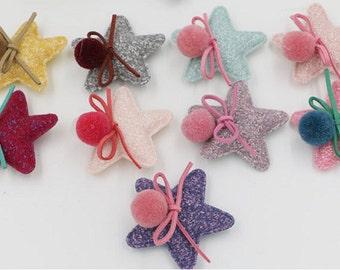 10 pcs Handmade Wollen Pom Pom and Stars Applique Girls Hair Clips Hairbands Embellishment