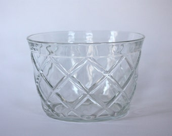 Large Vintage Round Glass Bowl with Trellis Pattern