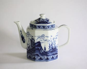 Vintage Blue and White Porcelain Teapot