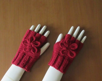 Fingerless Gloves with Flower, Hand Knitted in Burgundy
