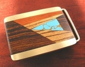 Mens Christmas Gift for Him - Wood Turquoise Belt Buckle - Christmas Gift for Men Belt Buckles BB116T