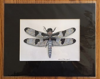 Hand Drawn Eight Spotted Skimmer Dragonfly 8 x 10