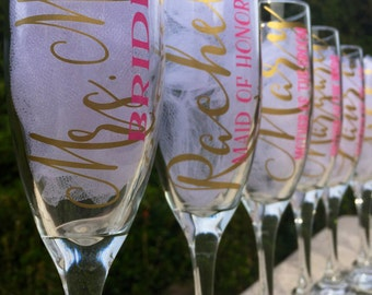 Set of 12, Personalized Bridesmaid champagne glasses, personalized bridesmaid glasses, bridesmaid flutes