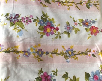 Antique French 1940s Fabric Vintage Romantic Material Trailing Rose and spring blossom ticking textile