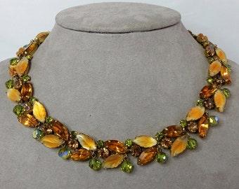 KRAMER Signed Fruit Salad Rhinestone Leaf Choker Necklace w/ Dangles    NEM25