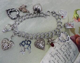 Sterling Silver 11 LOVE Charm Bracelet w/ Double Sterling Chain 30 grams