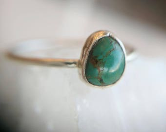 Turquoise and Silver Ring - turquoise ring - turquoise and silver - simple ring - bohemian ring  - stacking ring - boho ring - bohemian