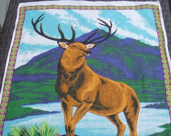 Linen Kitchen Towel. Scotland's Monarch of the Glen. Made in The United Kingdom. Stag, Vintage.