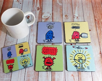 Coffee Coasters Awesome Set of four six or eight Need Coffee Want Coffee Rage Coffee Happy Coffee Absorbent